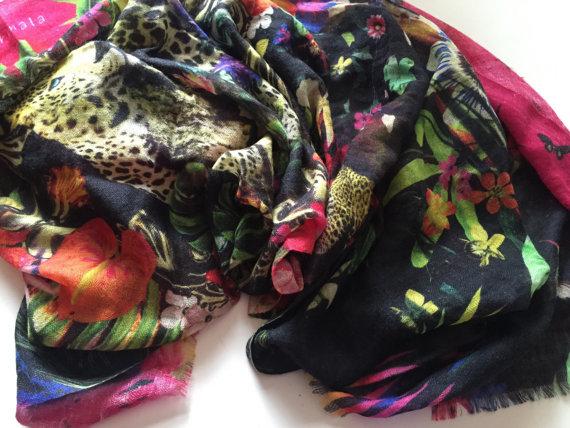 Rainforest Jaguar Pure Cashmere Wrap