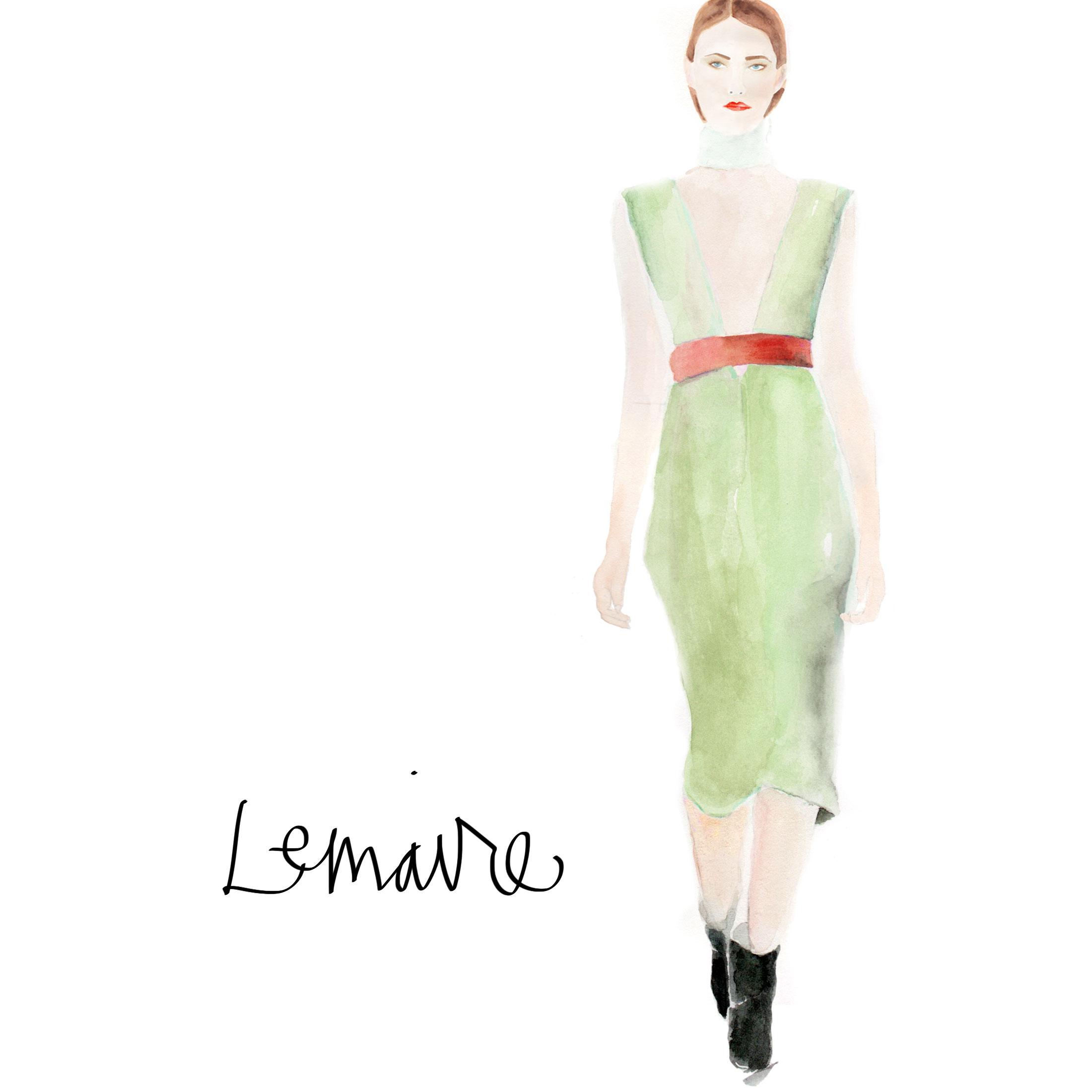 Lemaire dress illustration by Naomi Yamada