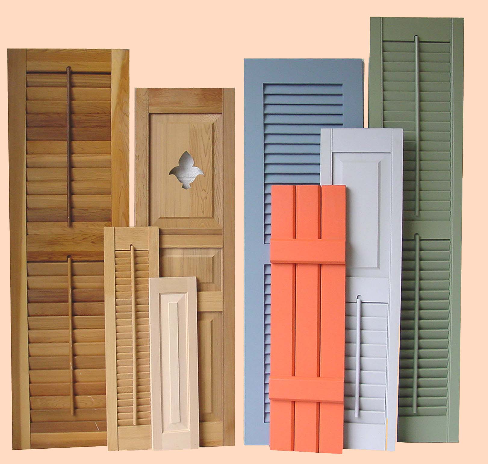 Shutters come in may shapes and sizes. Try on some color, like these from Shutter Craft.