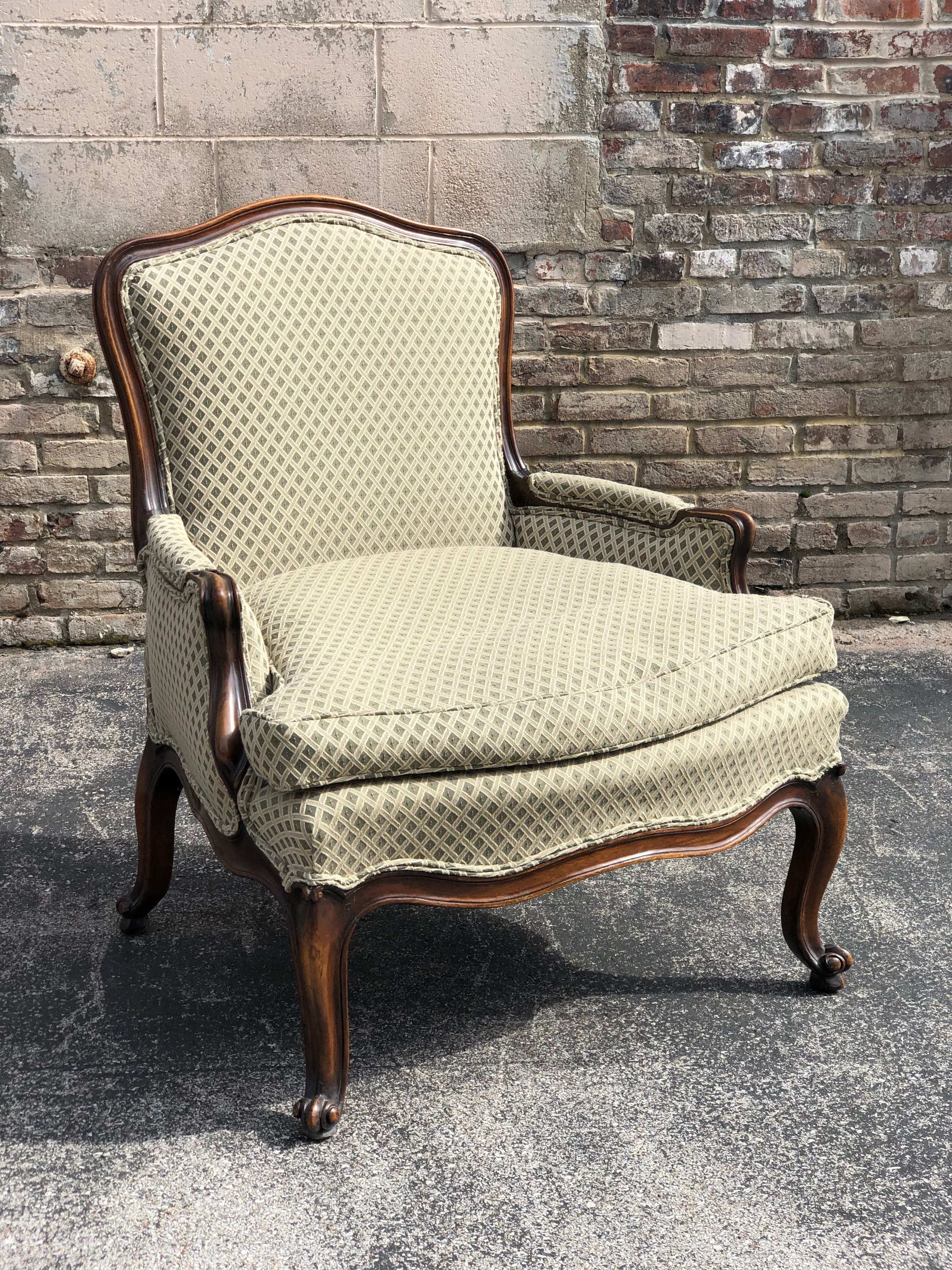Louis Green and Ivory Chair