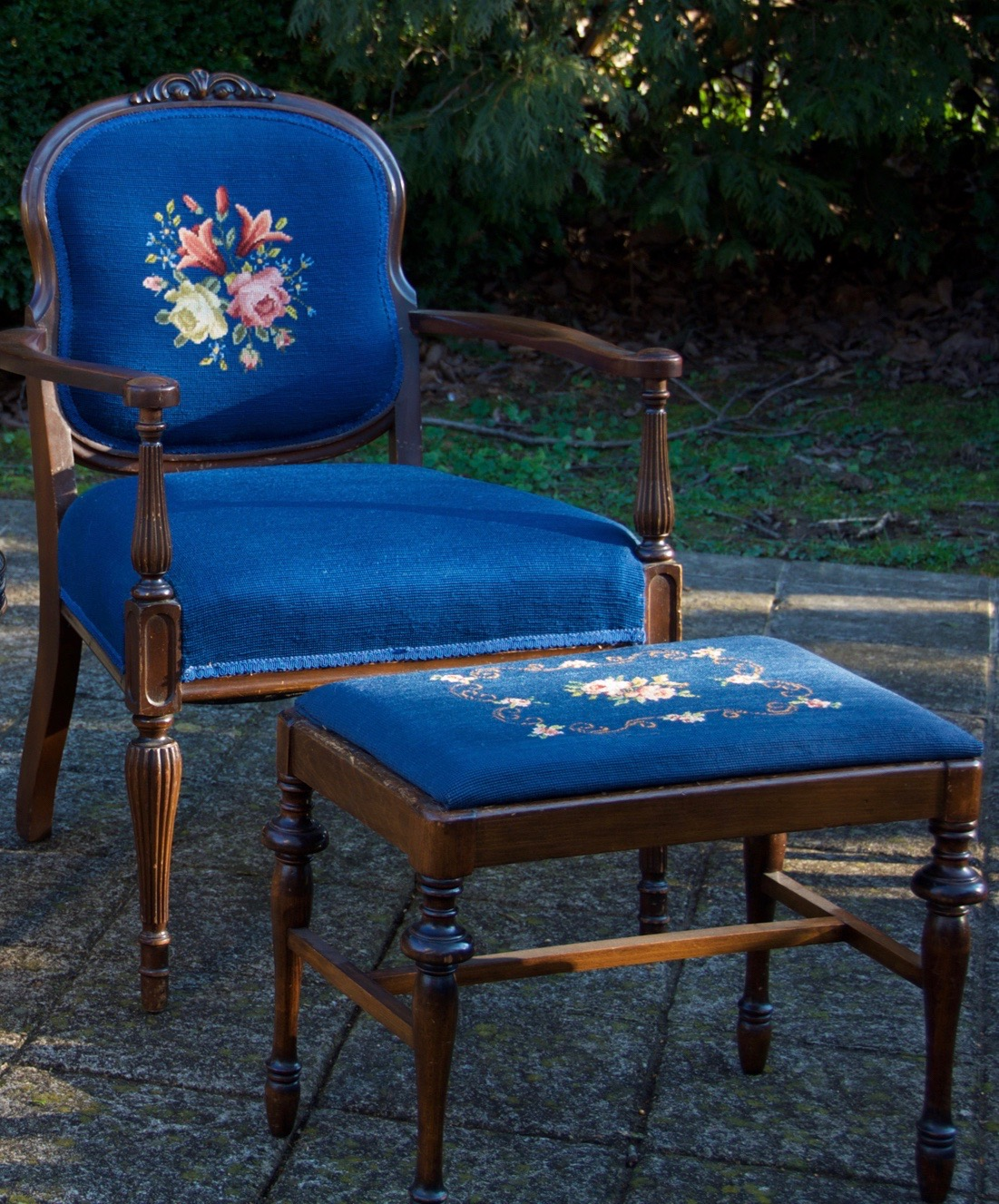 Blue Beauty Chair and Ottoman