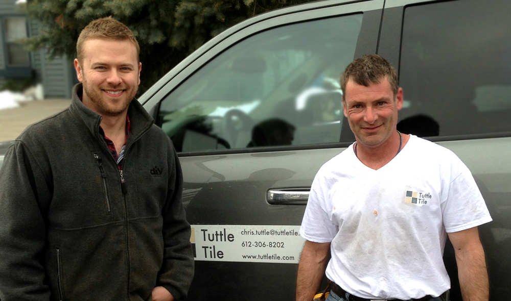 Chris Tuttle on the set of DIY Network's Bath Crashers with general contractor and interior designer Matt Muenster