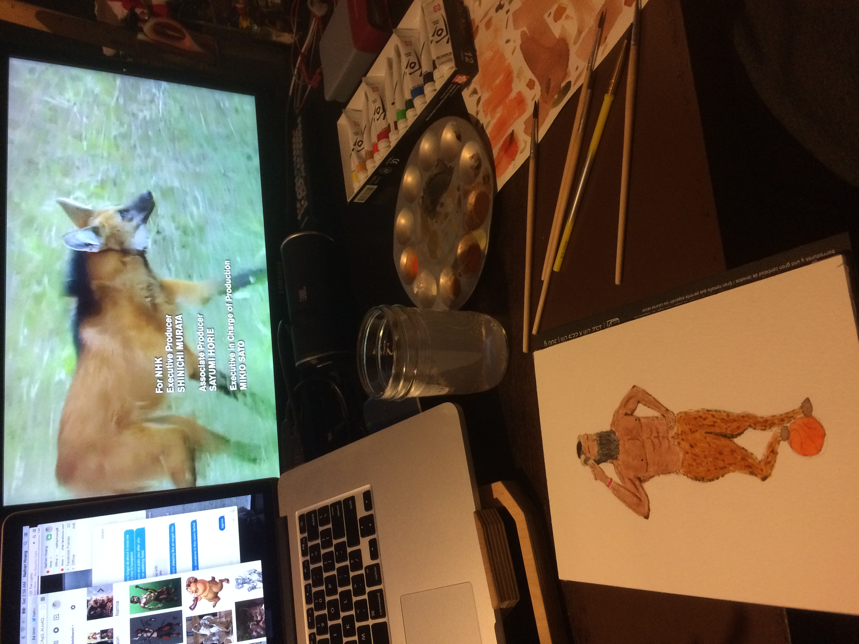 Painting an NBA satyr while watching a nature program.