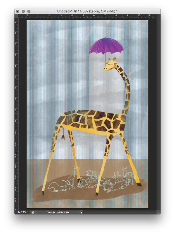 Once I added in the rain and background, I planned Giraffe's friends seeking shelter in a separate file to keep memory usage down.