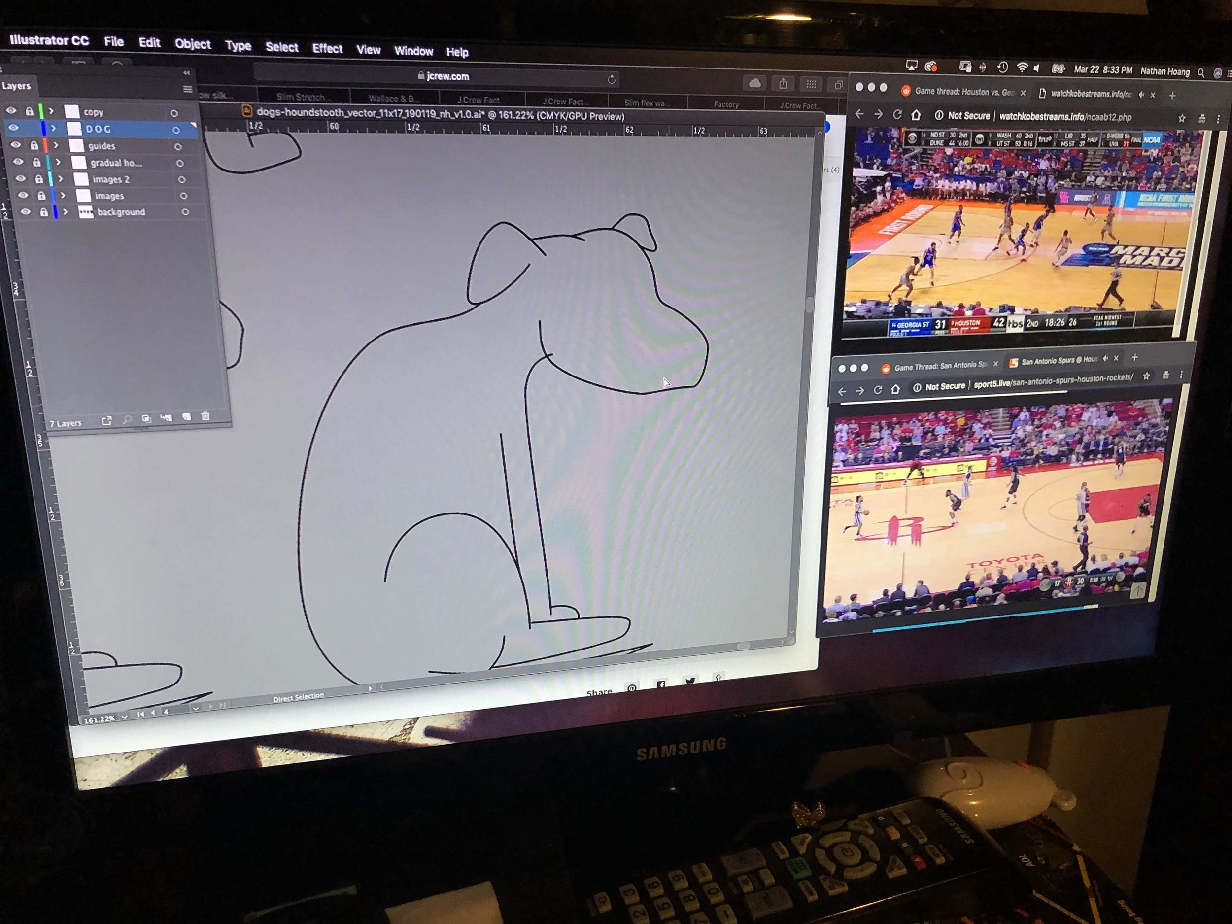 Trying to draw a dog in Illustrator while watching simultaneous Houston basketball games (one in NCAA March Madness, and there other in an NBA regular season) is hard.