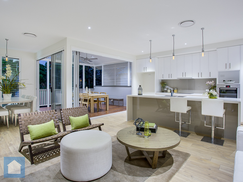 A nice and spacious open plan Kitchen, Living and Dining area is finished with some great touches and opens to the spacious deck out the back.