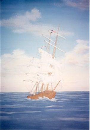Ship on the sea mural