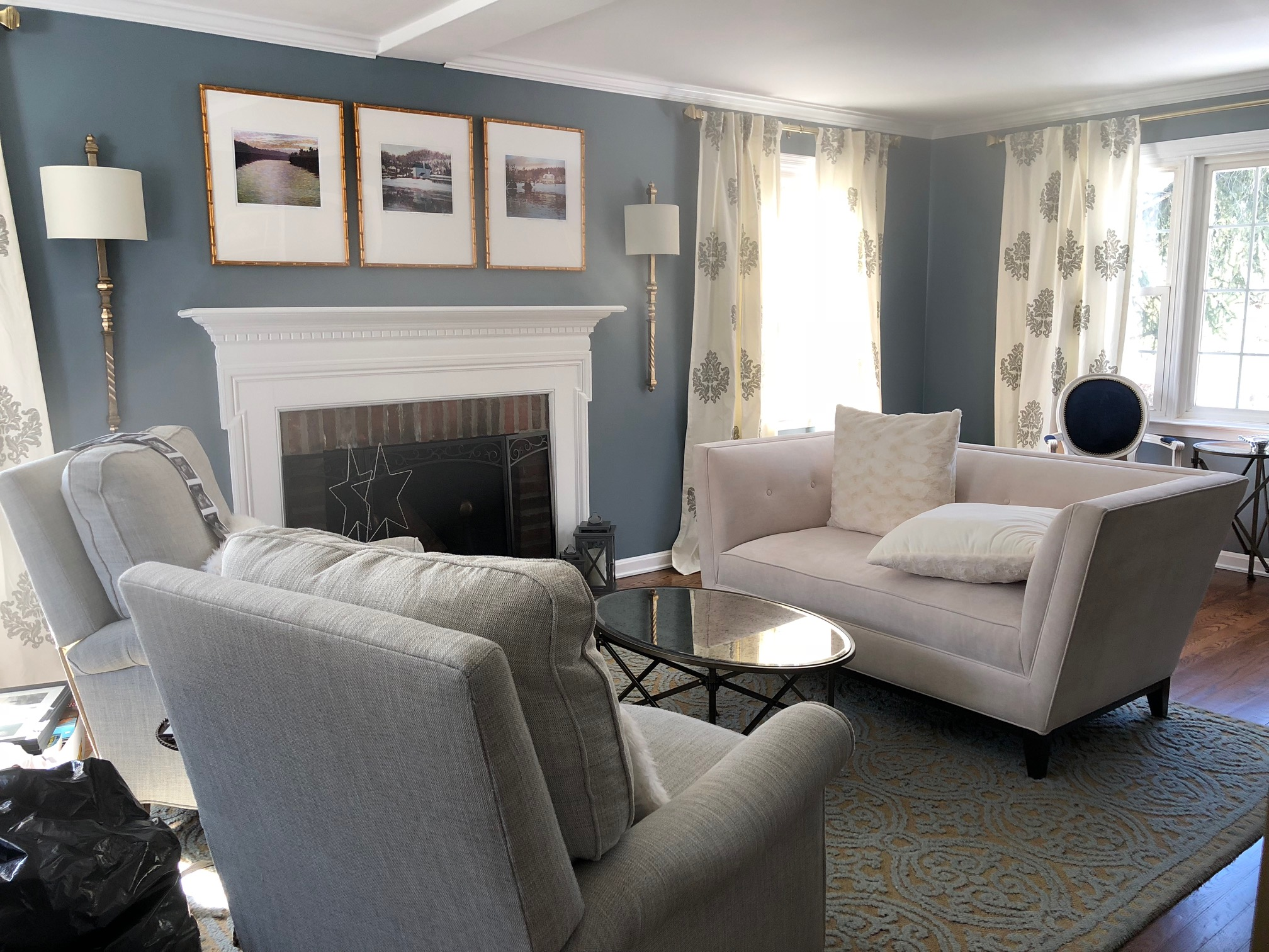 Blue grey living room paint color