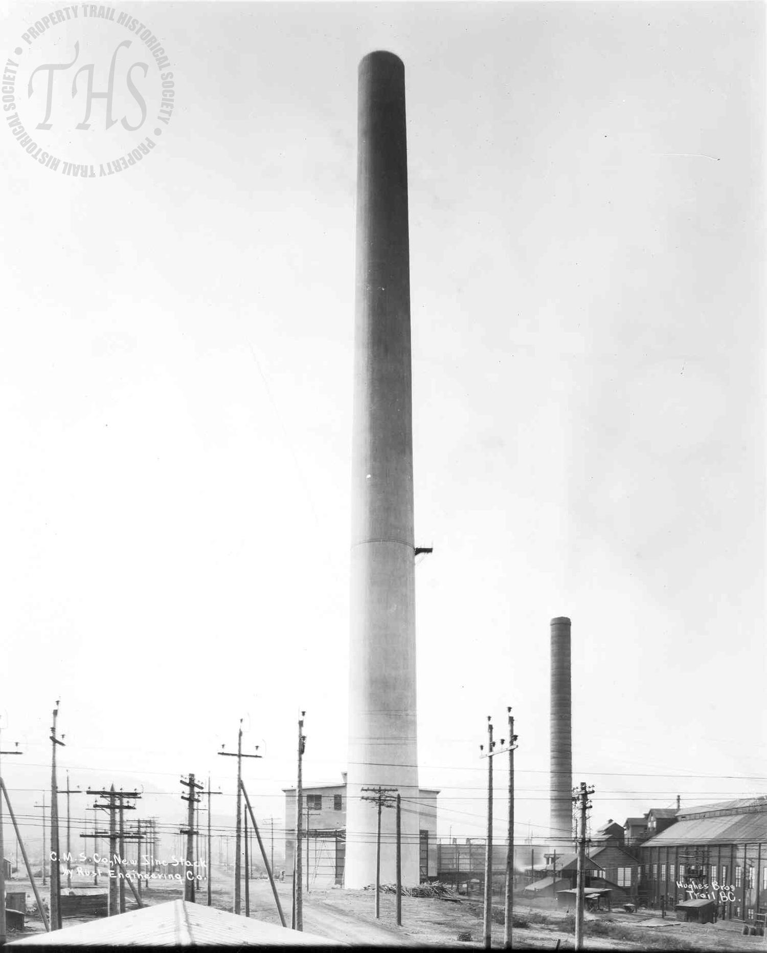 New zinc stack at Trail Smelter (Hughes) - 1920