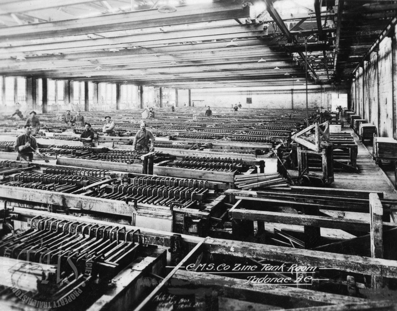 Zinc tank room, Trail Smelter (Hughes) - 1922