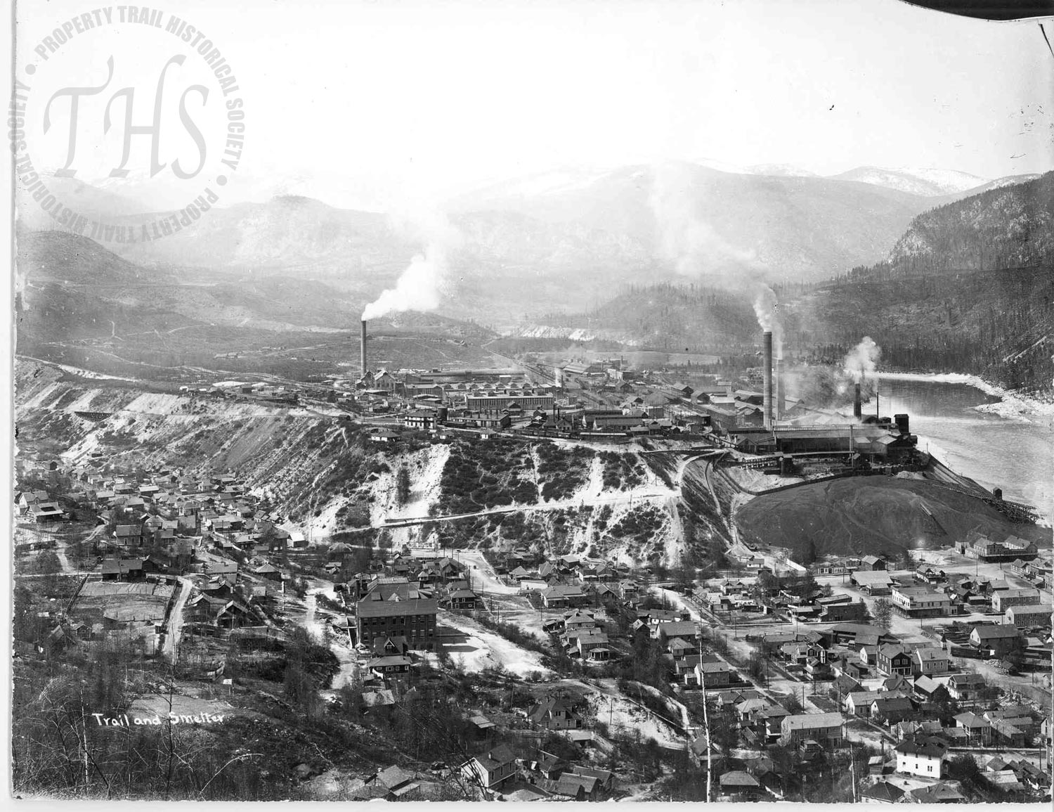 Aerial view of Trail and Smelter (Hughes) - 1925