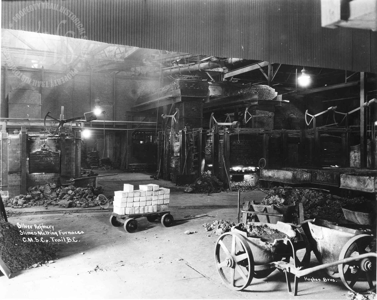 Silver refinery, slimes melting furnace, Trail Smelter (Hughes) - 1925