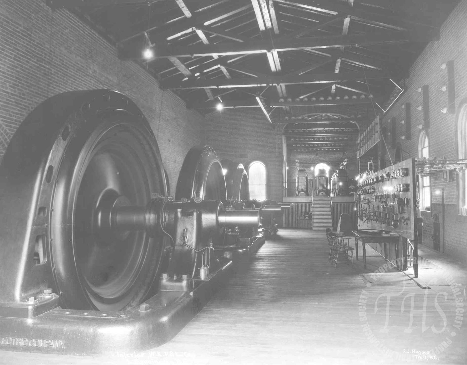 Inside Lower Bonnington Powerhouse with view towards upper room, no operators (Hughes) - 1925
