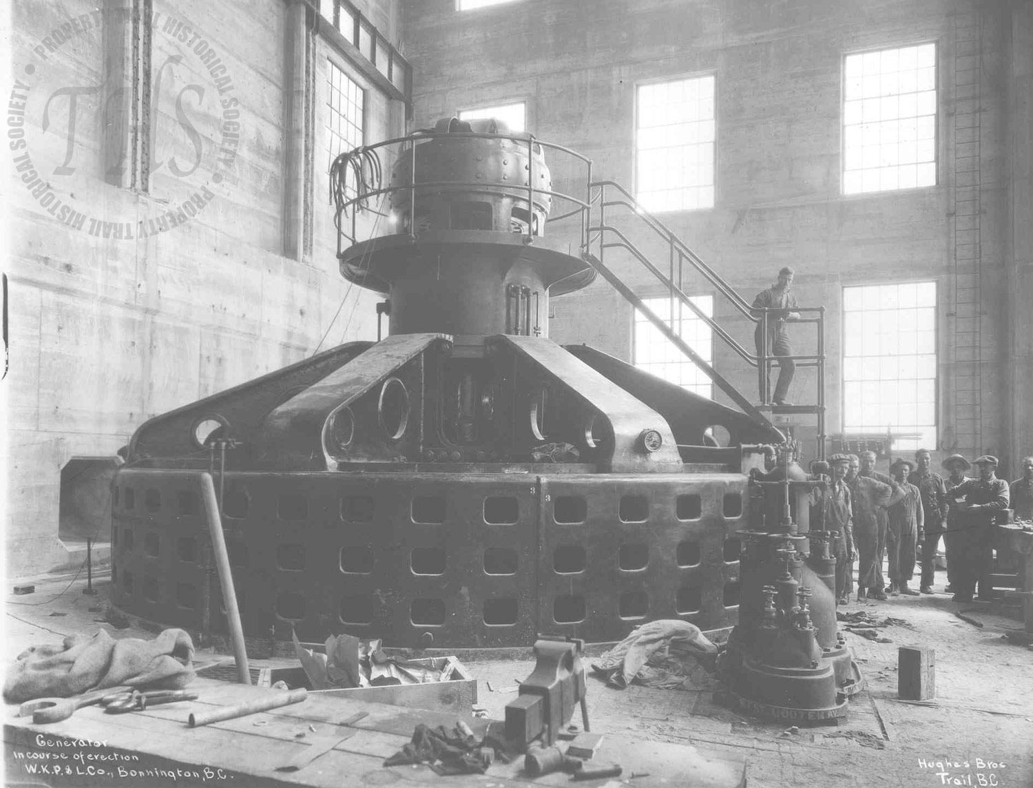 Generator in course of erection at the upgraded #1 plant, Lower Bonnington (Hughes) - 1925