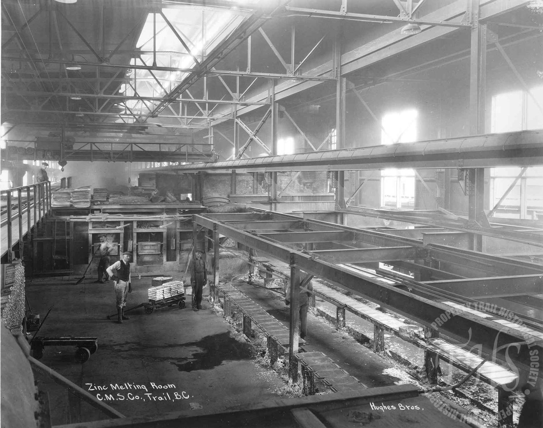 Zinc melting room, Trail Smelter (Hughes) - 1928