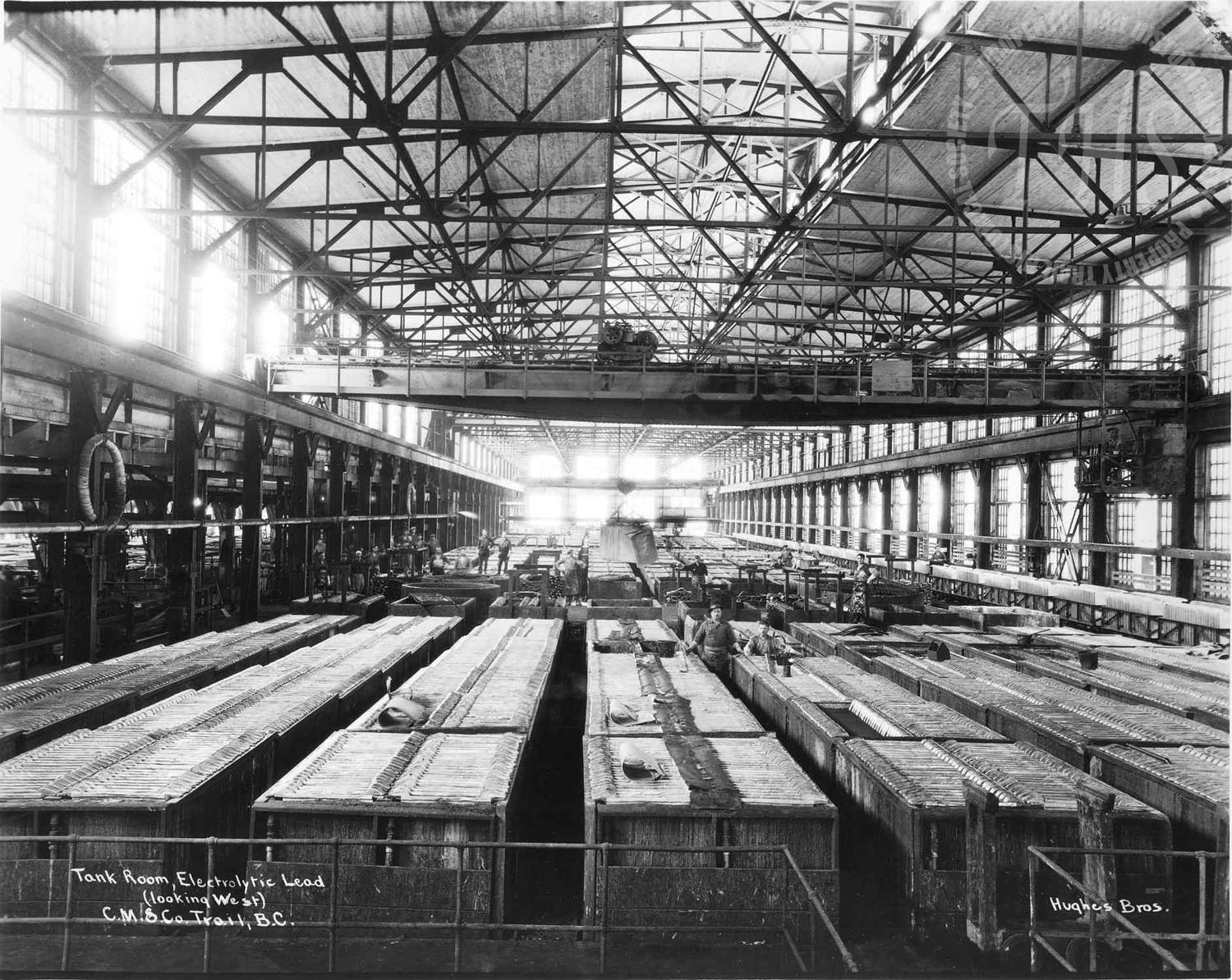 Tank room – electrolytic lead refinery, Trail Smelter (Hughes) - 1928