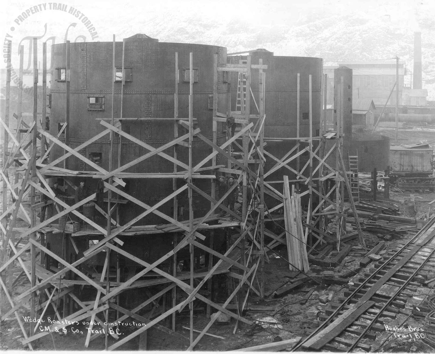 Wedge roasters under construction, Trail Smelter (Hughes) - 1928
