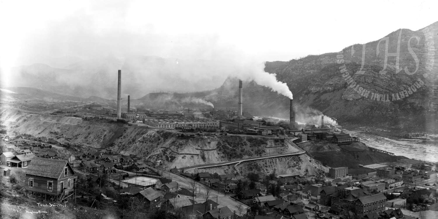 Panorama view of smelter and part of downtown, taken from hill near Central School (Hughes) - 1928