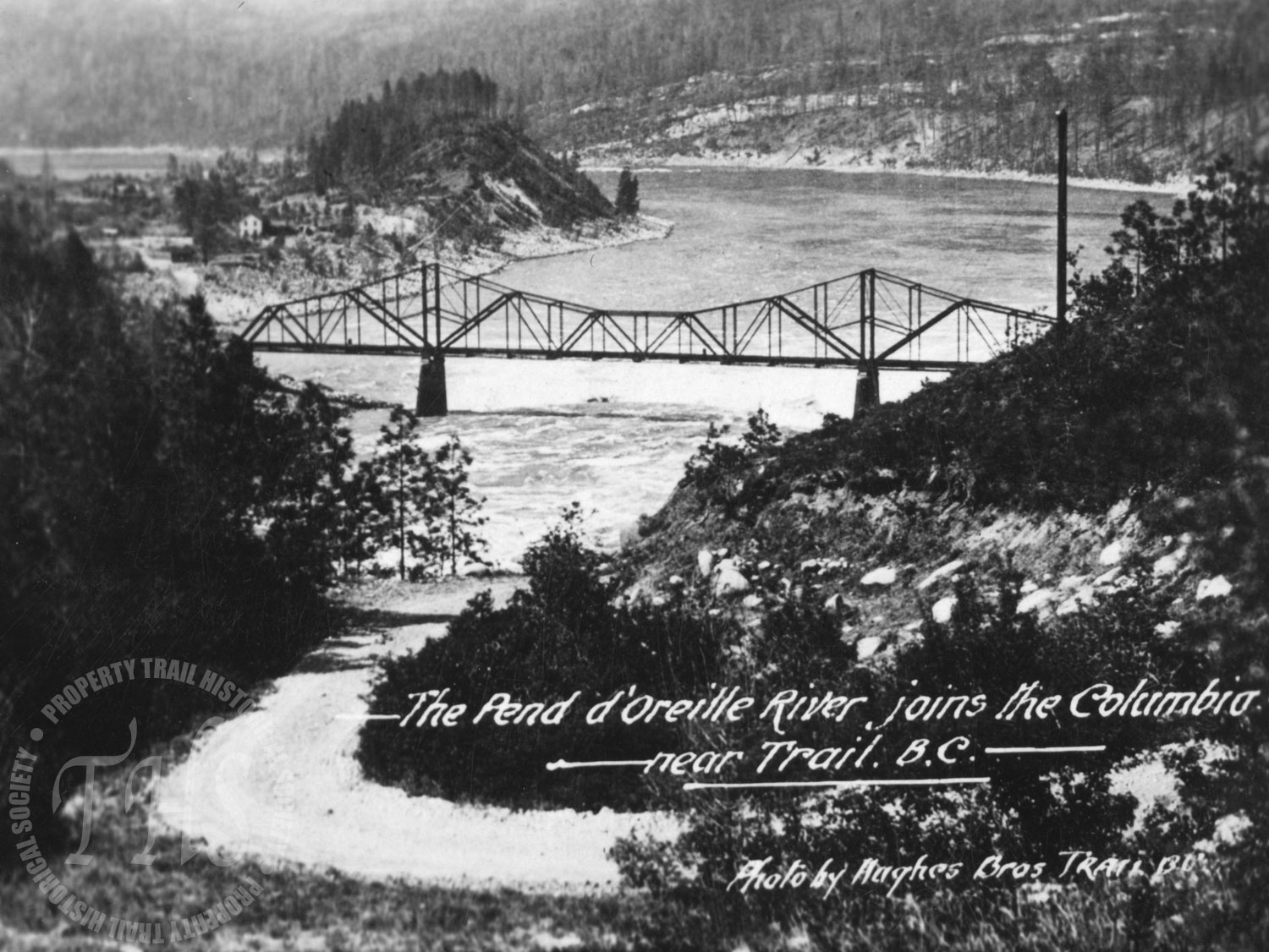 Waneta Bridge at confluence of Pend d'Oreille and Columbia Rivers (Hughes) - 1930