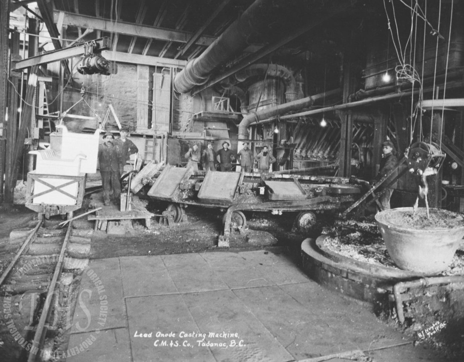 Lead anode casting, Trail Smelter (Hughes) - 1930