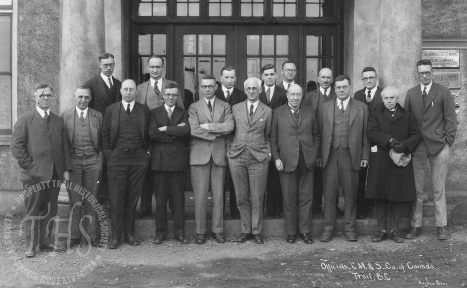 Consolidated Mining and Smelting officials.  R.W. Diamond: front row, third left; S.G. Blaylock, front row, second right (Hughes) - 1930