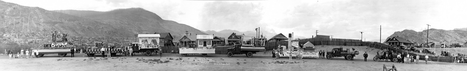 Consolidated Mining & Smelting Co. floats during Canada's Diamond Jubilee at Butler Park (Hughes) - 1927