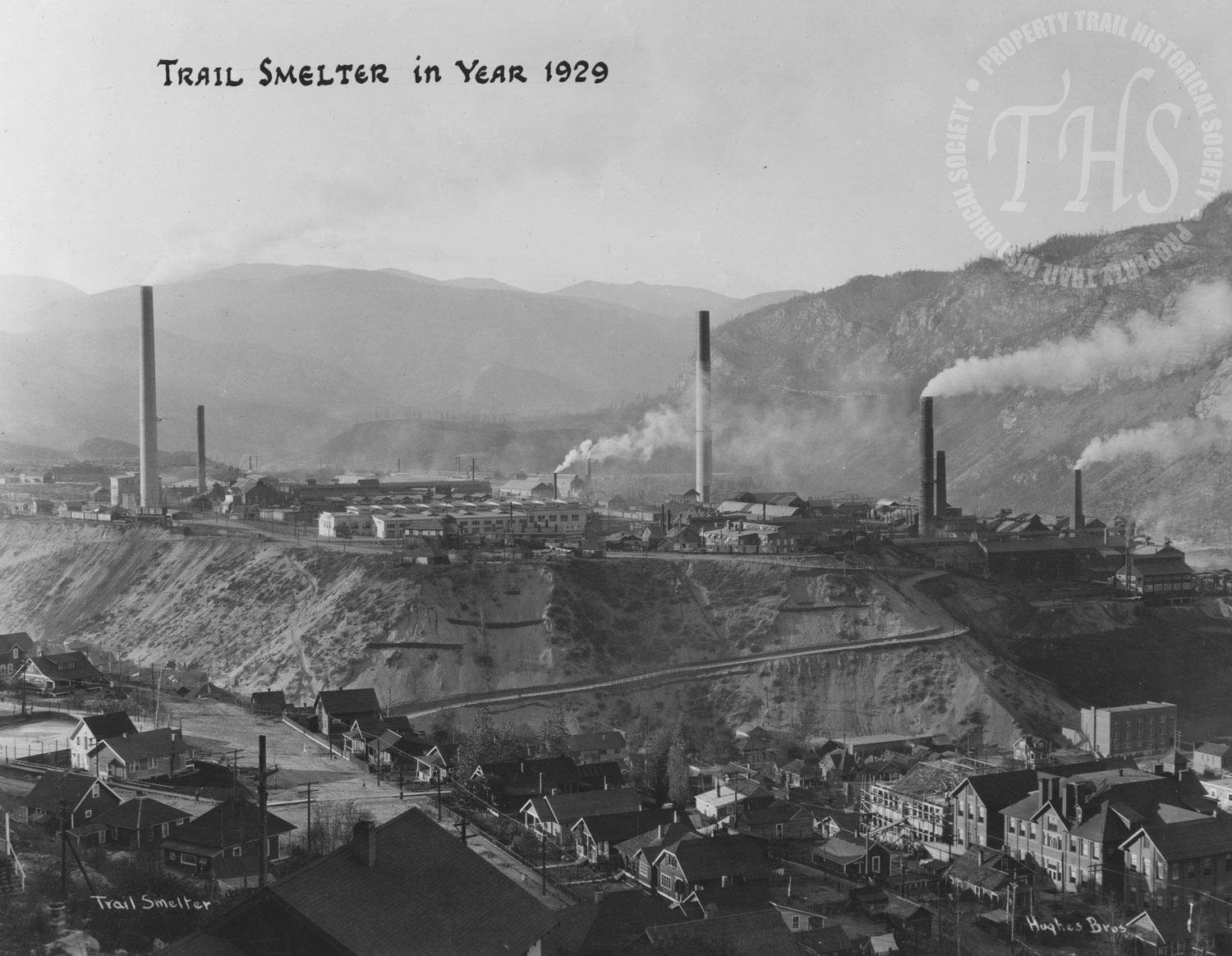 Smelter, showing Central School construction (Hughes) - 1929