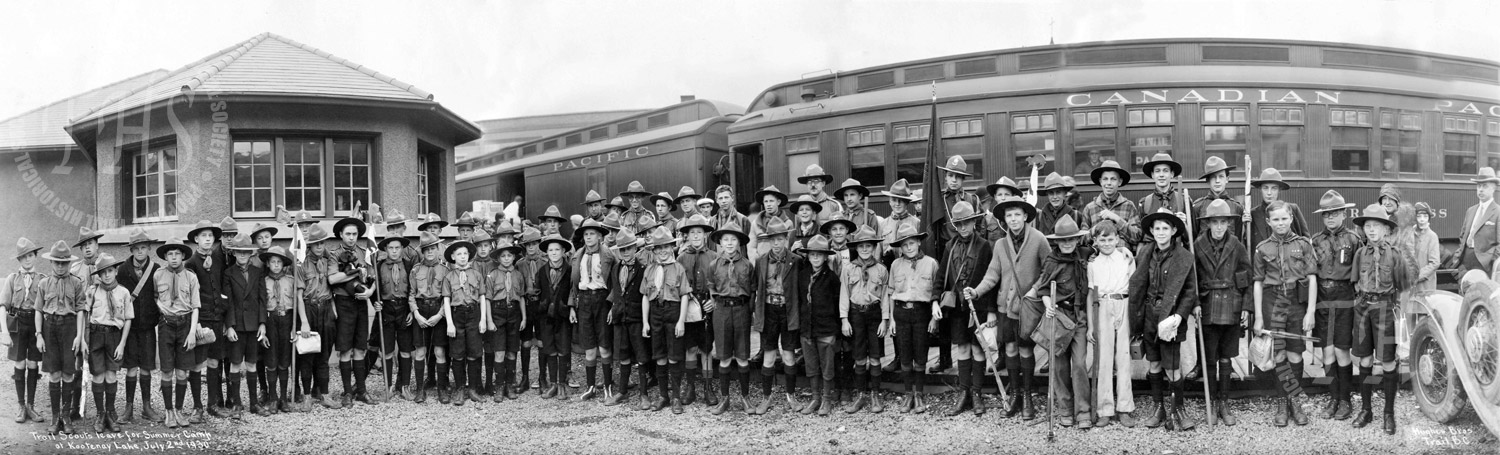 Trail Scouts leave for summer camp at Kootenay Lake (Hughes) - 1930