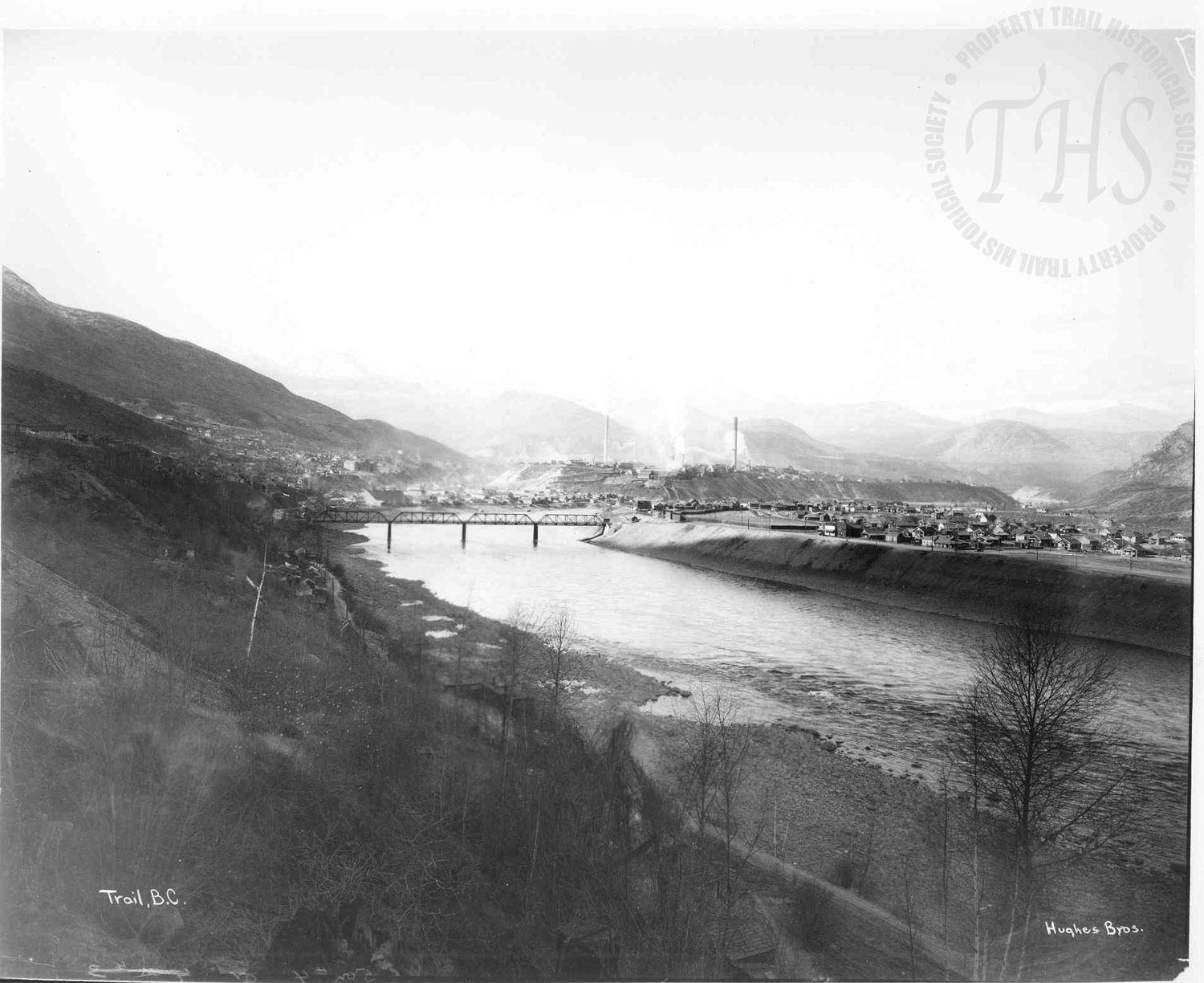 Columbia River, Old Bridge and Smelter from Casino (Hughes) - 1930