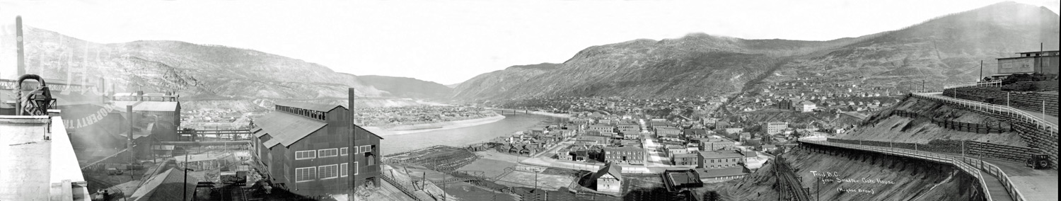 Downtown with Smelter at left, from Smelter gatehouse (Hughes) - 1930