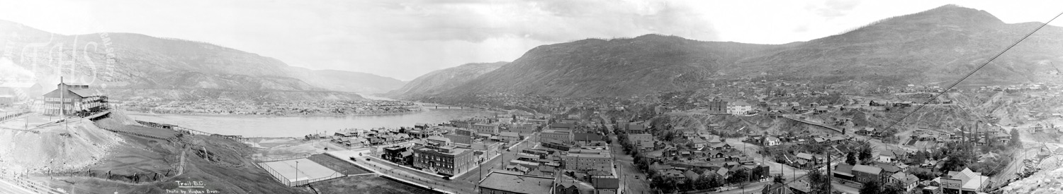 Downtown and West Trail from Smelter Hill (Hughes) - 1932