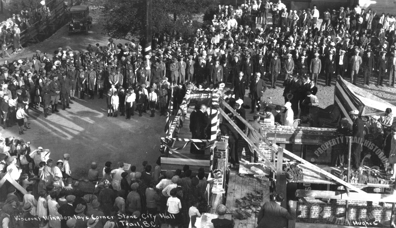 Laying the cornerstone at City Hall, 1394 Pine Avenue, Trail (Hughes) - 1928