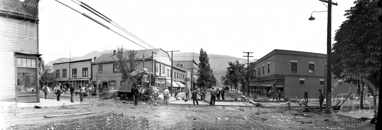 Street paving operations, Spokane Street at Cedar Avenue (Hughes) - 1926