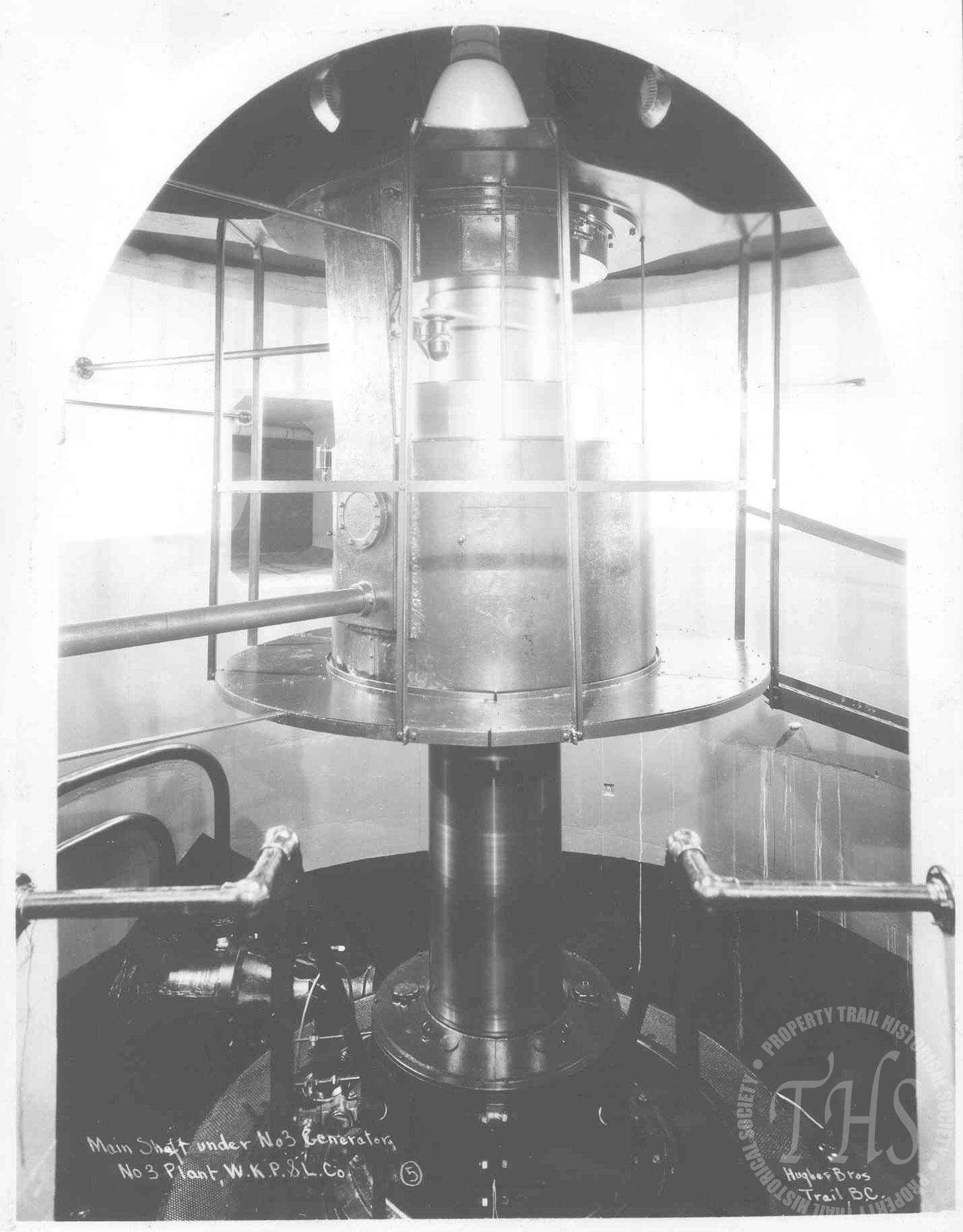 Main shaft under #3 generator, South Slocan plant (Hughes) - 1930
