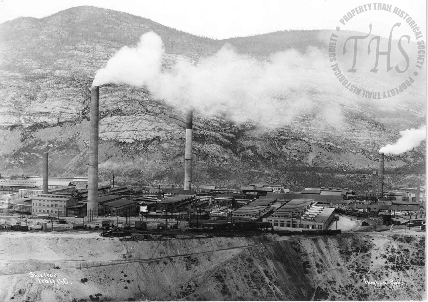 Aerial view of zinc plant, Trail Smelter (Hughes) -
