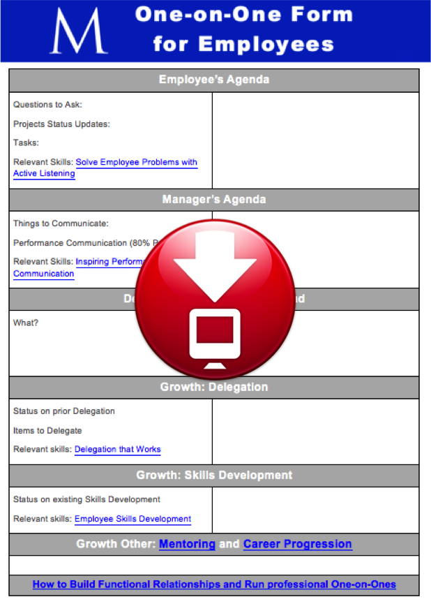 One on One Form for Employees Download Jpeg