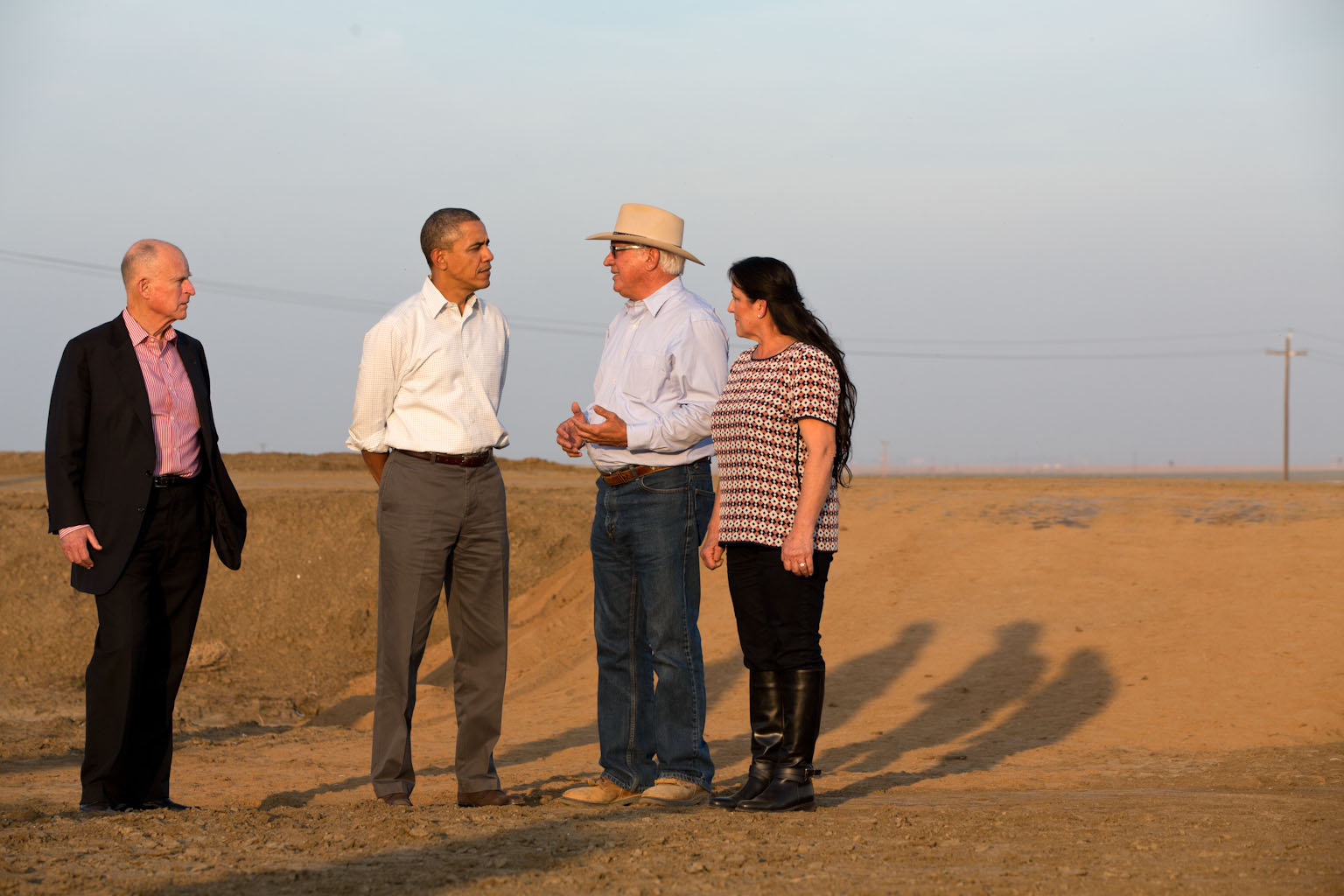 President Barack Obama touring a field with California farmer Joe Del Bosque and his wife Maria in 2014 in response to one of California's worst droughts in over 100 years.