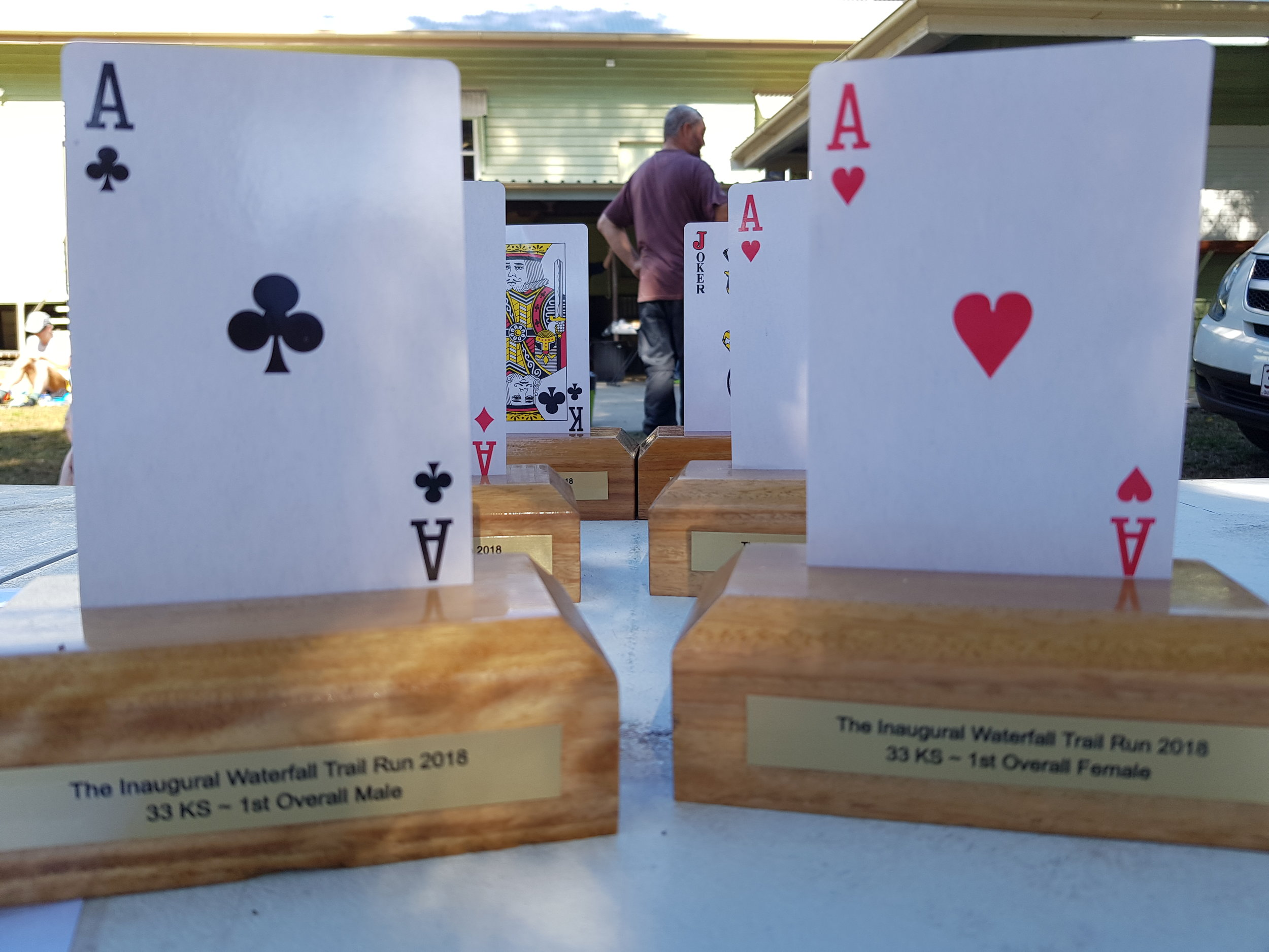 2018 Winners Trophies - The compulsory item to pick up out on course was a playing card.