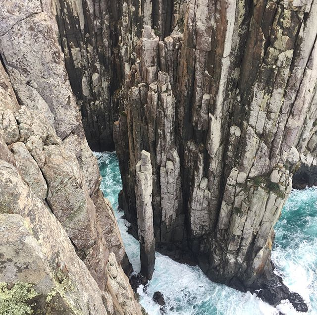 Totem pole at Cape Hauy, people actually climb this