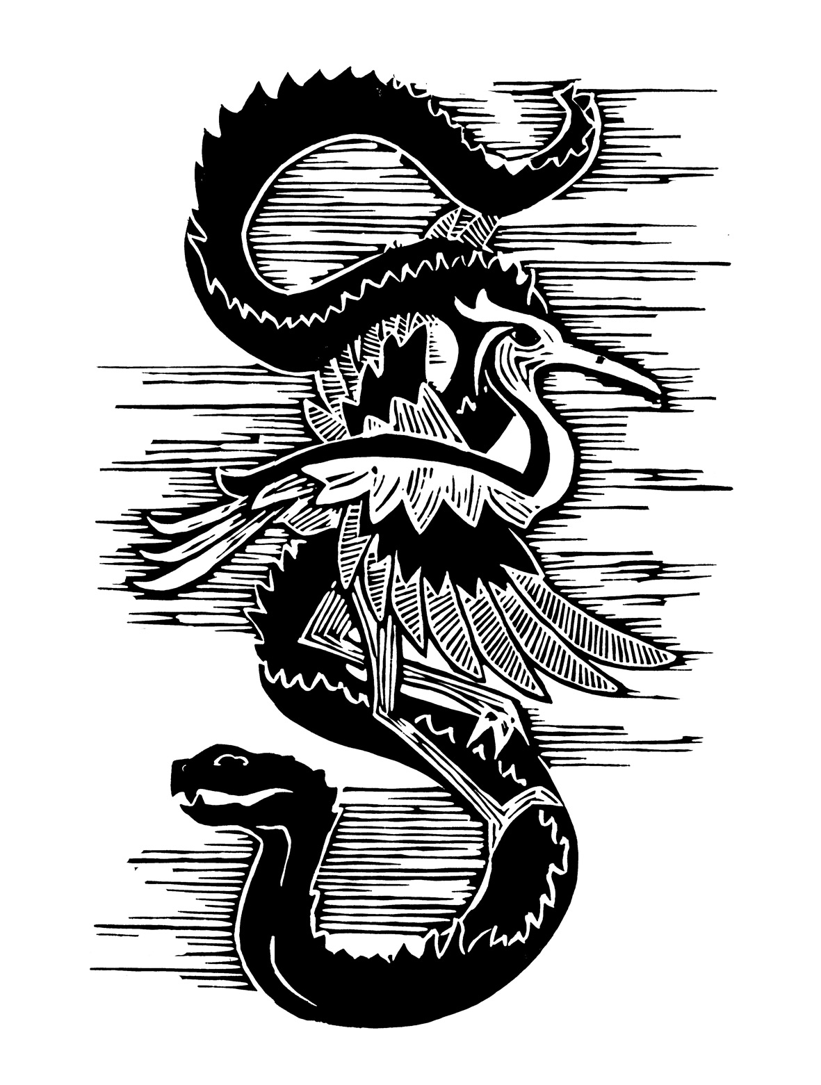 Snake and Crane lino print for a Long form Yang Tai Chi school in Brighton (circa 2007)