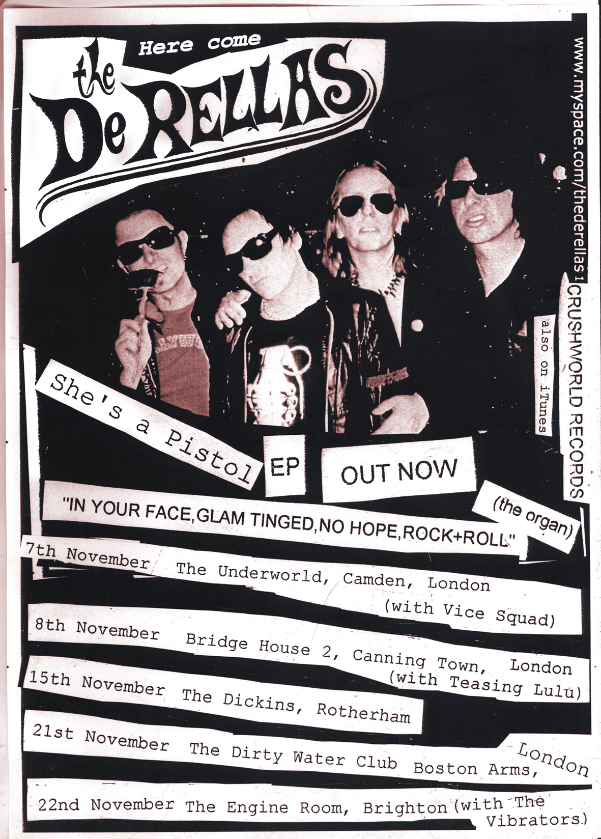 Flyer for the punk band the DeRellas