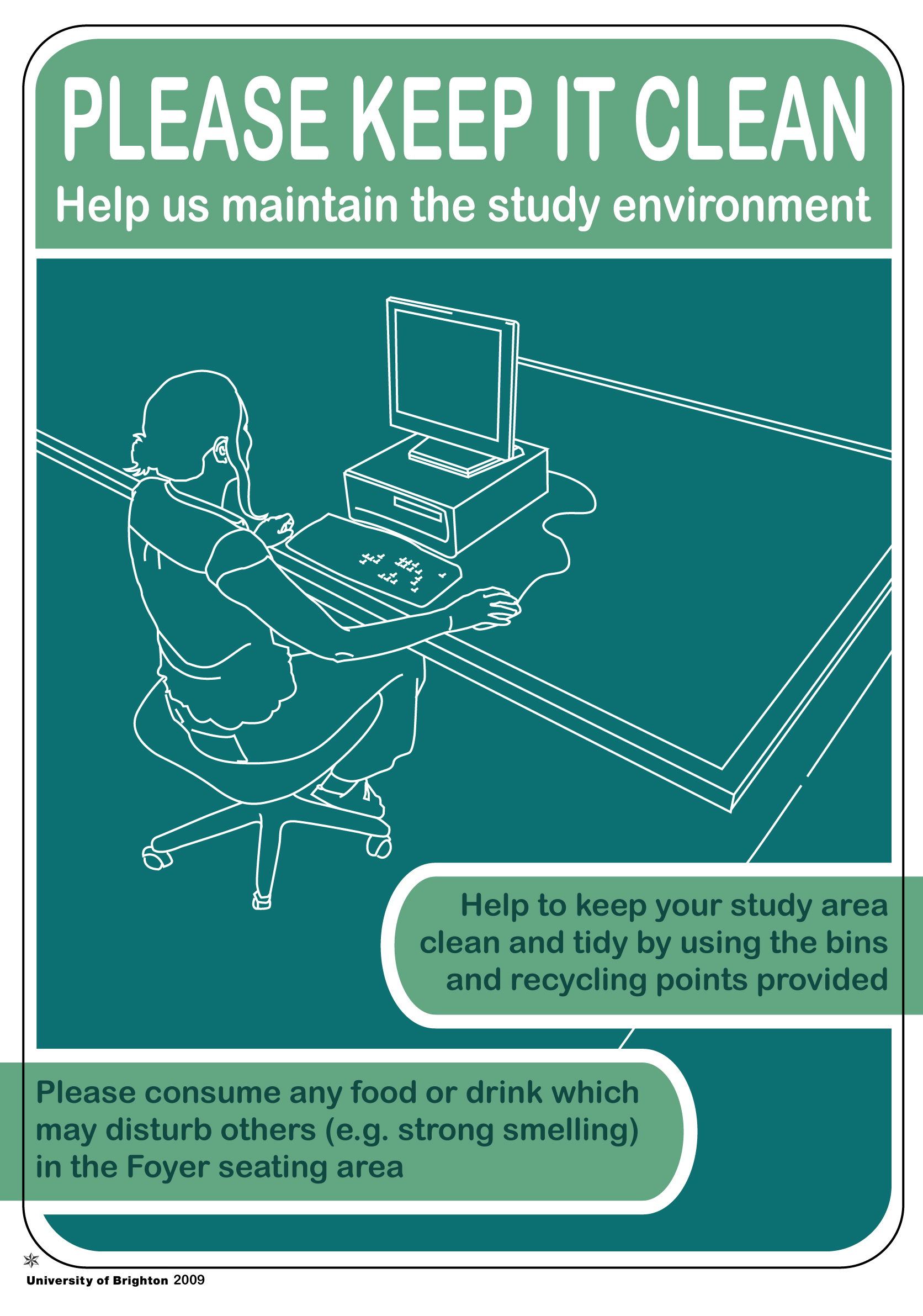 Poster for use within Brighton University library services. Copyright University of Brighton