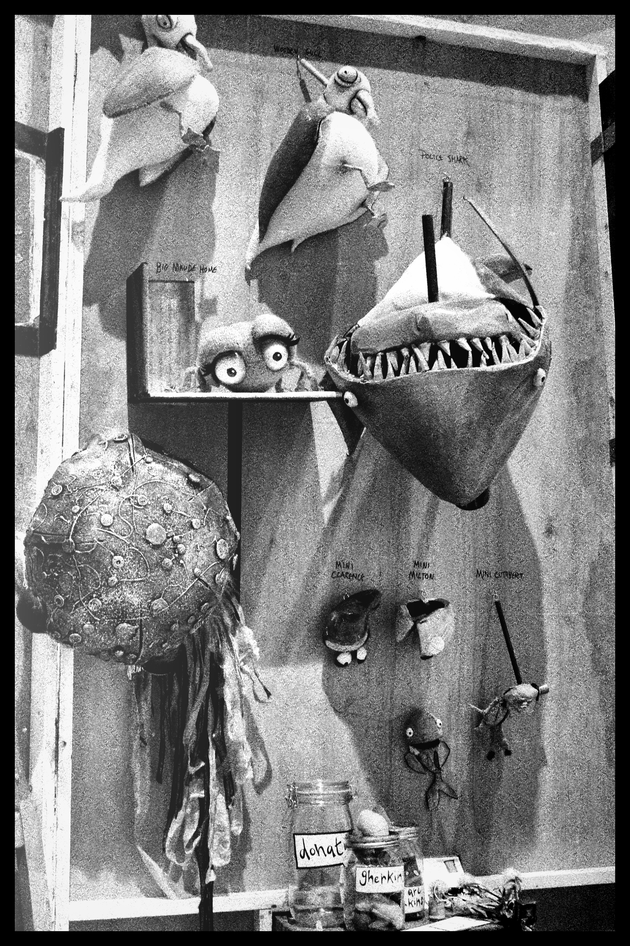 Behind the stage flats, each of the 30-ish puppets had their own little labelled hook. It took on a strange life as a weird looking 'dead puppet' trophy wall complete with great white shark and jars of dead sea-cucumbers. 2013. Image: Ulysses Black