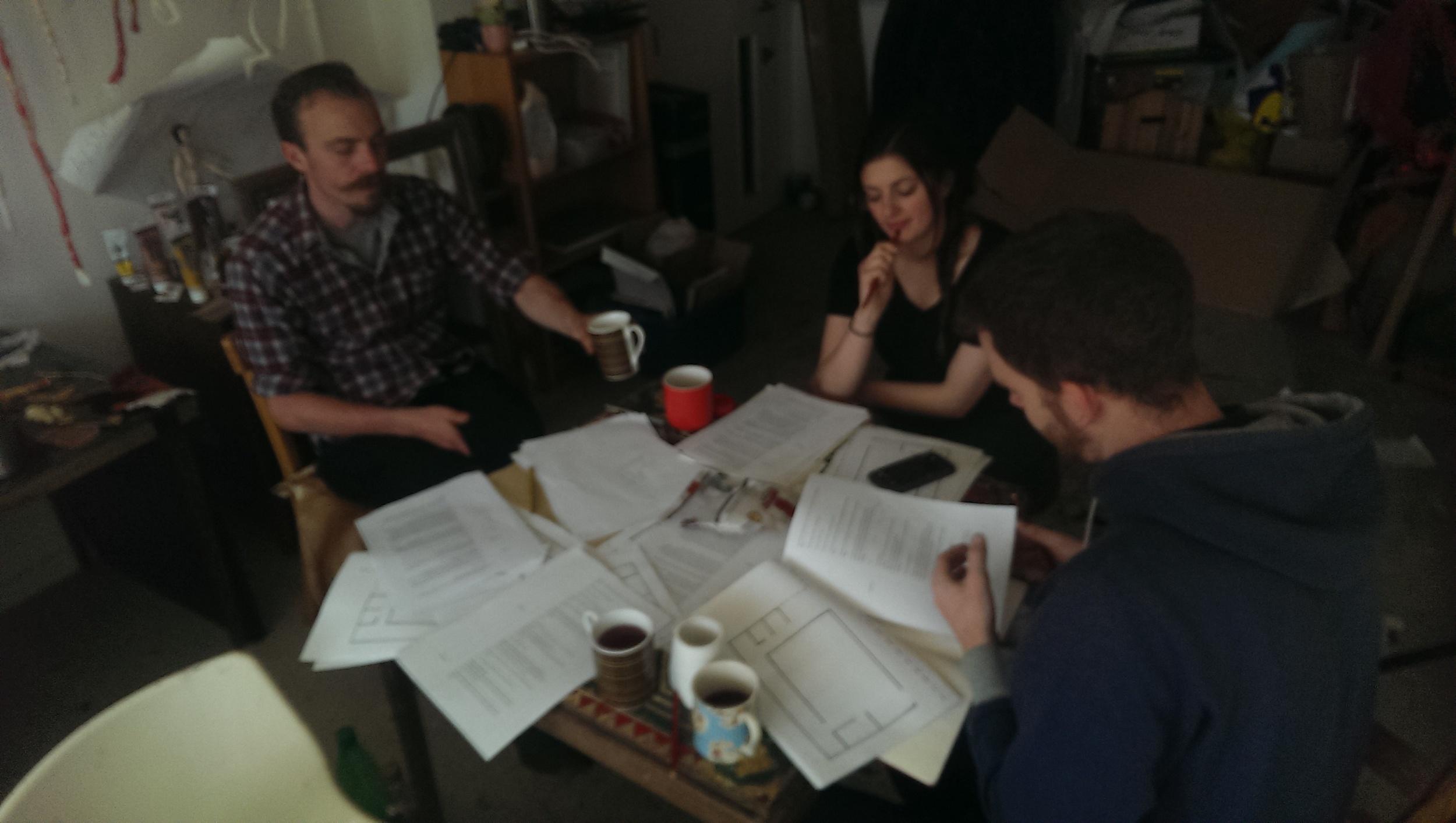 April read through in the FoulPlay Chicken Coop: Alex Mannion-Jones, Annie Brooks, & Jack Stigner