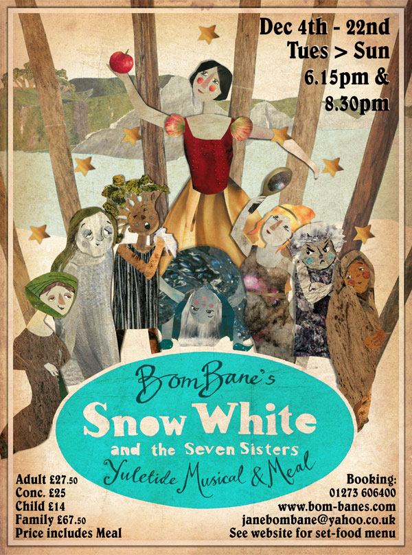 Show Poster for the Xmas musical at Bom-Banes, Brighton inspired by the original Disney poster.  Collaboration with  Daisy Jordan