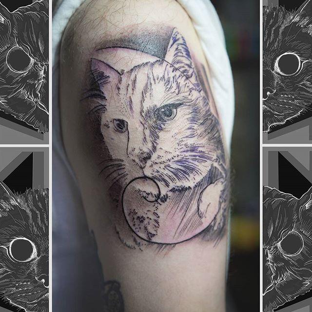 It's in the namesake of our studio, we love a cat tattoo here. Tattooed by Jim.  #owlcat #owlcattatto #tattoo #tattoos #tattooworkers #tattooartist #tattoosofinstagram #uktta #aberdeen #aberdeencity #scotland #fun #art #ink #tatmaps #bestofbritishtattoo #sonya7 #seeninthedeen #tattooist #artist #solidink #granitecity #cattattoo #catsofinstagram