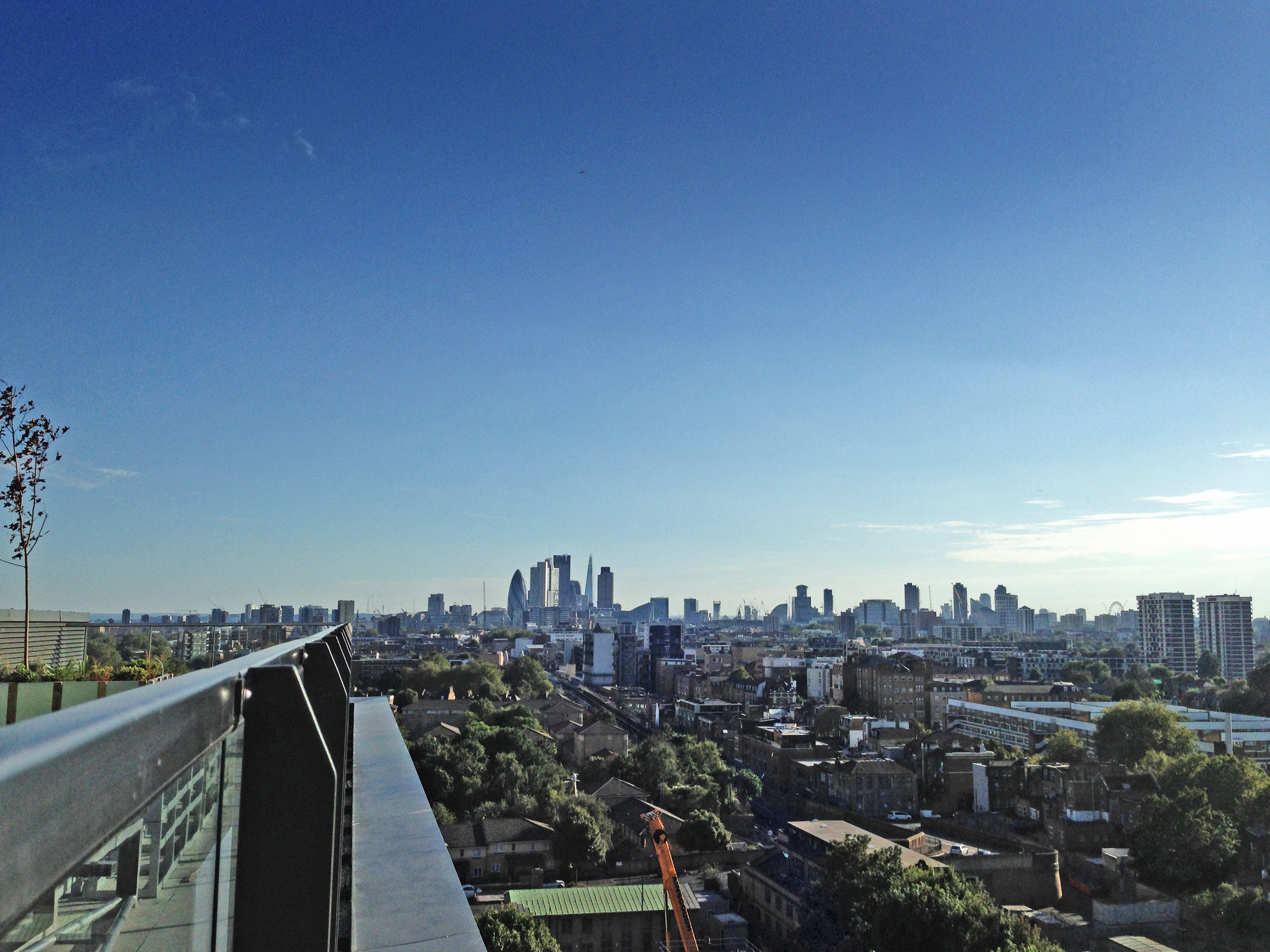 View over London at 11th floor roof terrace