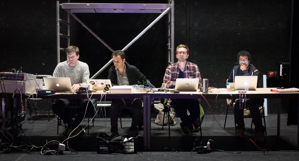The  Ooo-Ya-Tsu  collective (left to right): Olivier Durteste (DDDXIE), Thibaut Devulder (2hD), Morgan Dimnet and Jef Ablézot (Qubo Gas)