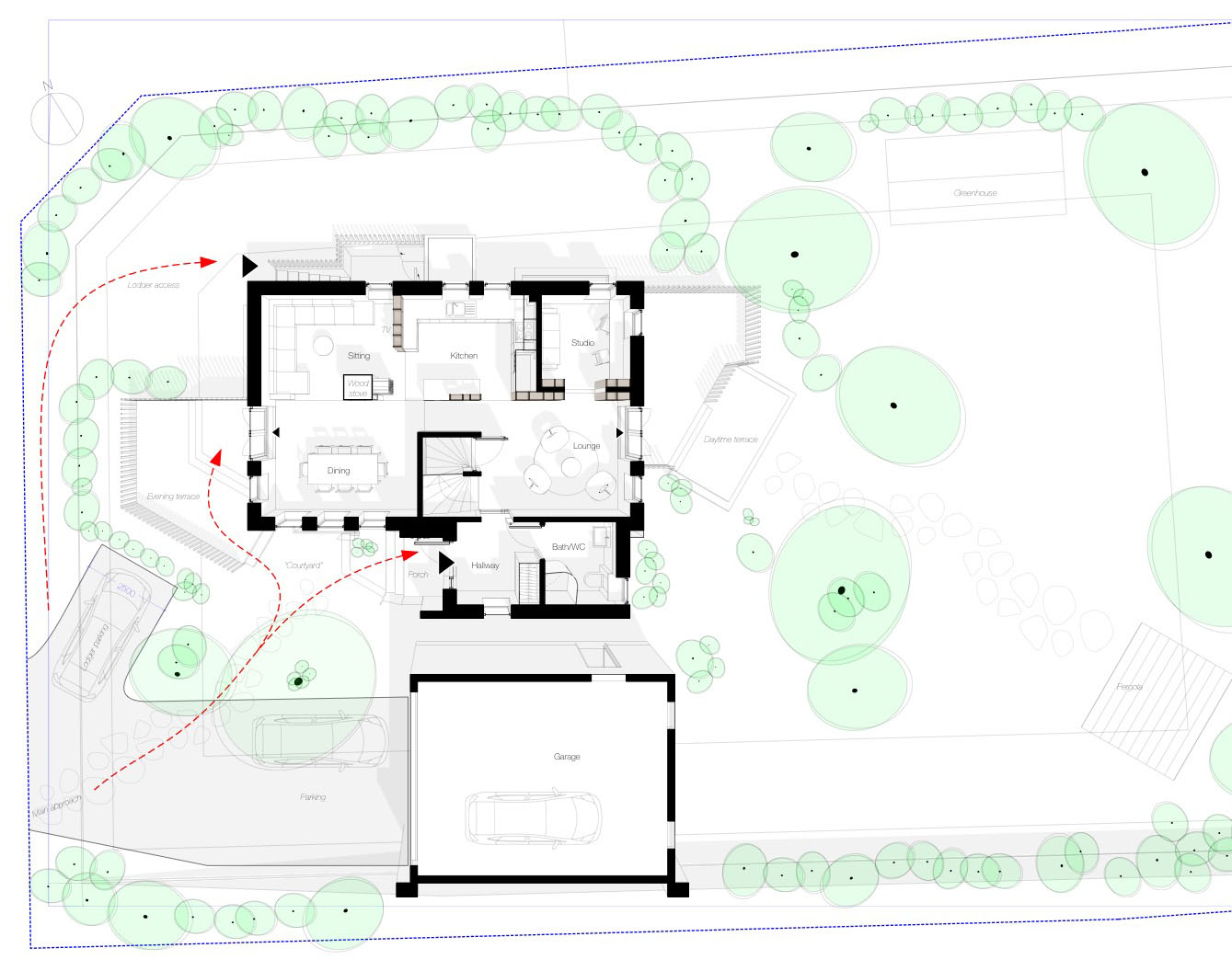 An overview of the ground floor in relation to the garden (click for full size)