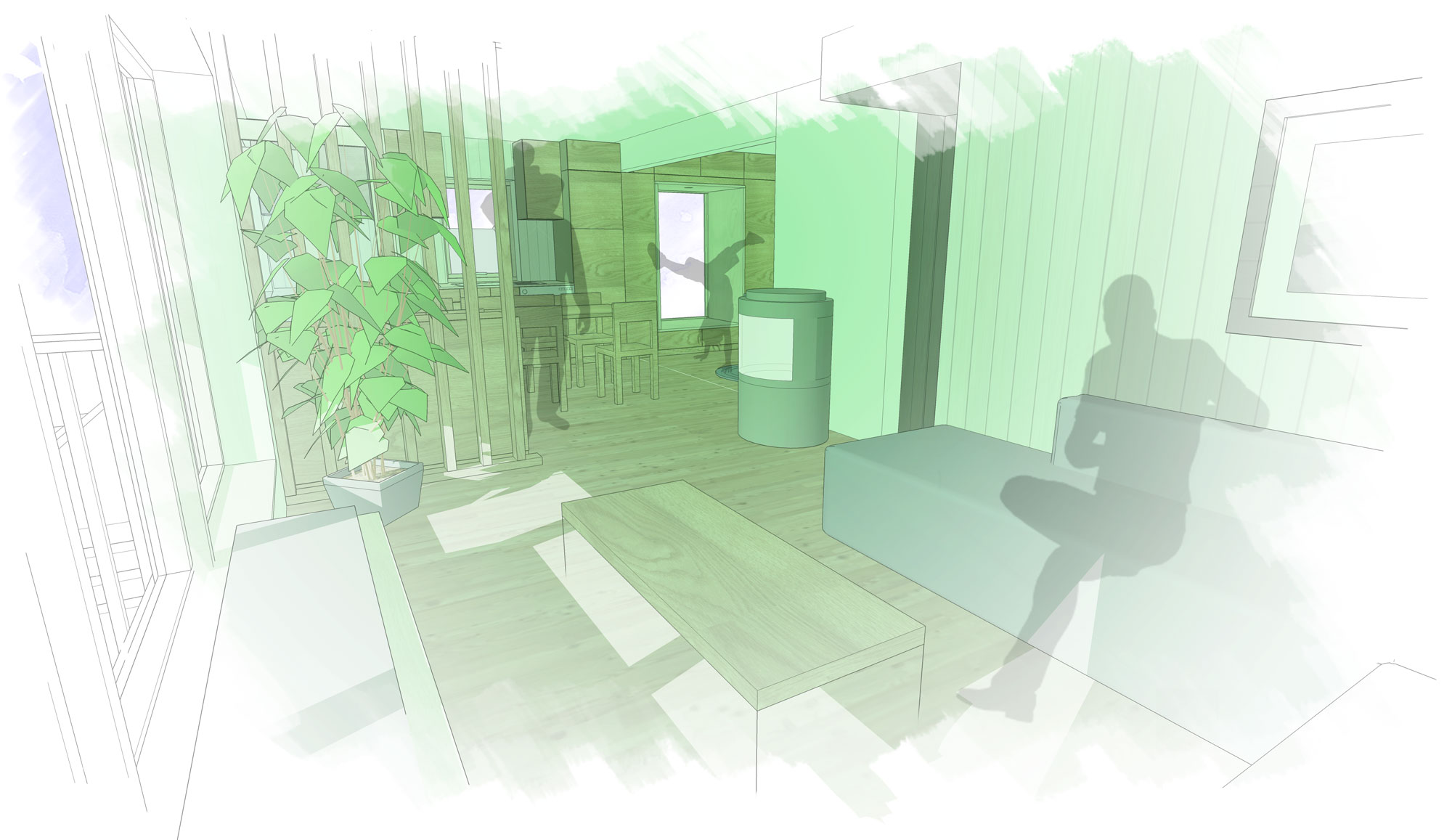 Sketch impression of the remodeled seaside cabin, looking across the living room